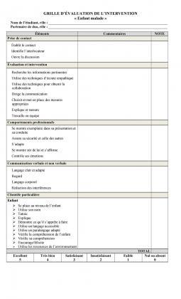 Document : Grille d'évaluation (Enfant malade)