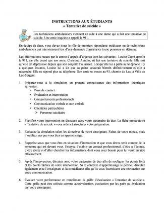 Document : Instructions (Tentative de suicide)