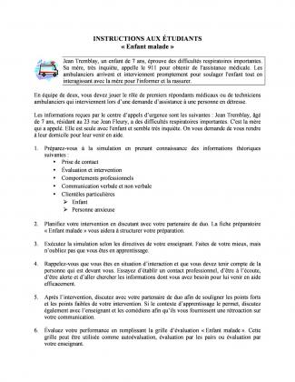 Document : Instructions (Enfant malade)