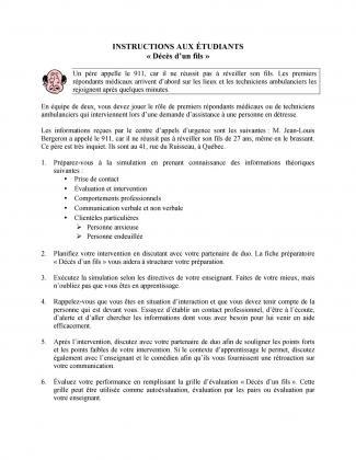 Document : Instructions (Décès d'un fils)