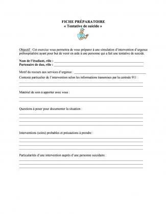 Document : Fiche préparatoire (Tentative de suicide)