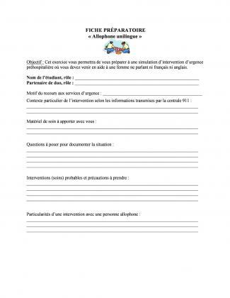 Document : Fiche préparatoire (Allophone unilingue)